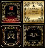 Golden vintage frames - set — Stock Vector