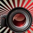 Professional camera - Retro background — Stock Vector