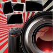 Retro background - professional camera and old photo frames — Stock Vector