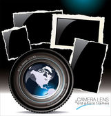 Camera lens with old photo frames — Stock Vector