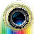 Camera lens colorful background — Stock Vector