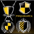 Stock Vector: Glossy black and yellow shield emblem set