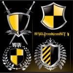Glossy black and yellow shield emblem set — Stock Vector