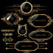 Elegant gold and black labels — Imagen vectorial
