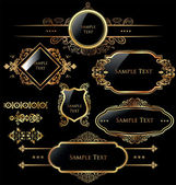 Elegant gold and black labels — Stock Vector