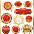 Stock Vector: Set of golden quality labels and emblems