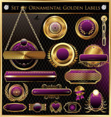 Golden Framed Labels — Stock Vector