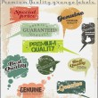 Premium Quality and Satisfaction Guarantee grunge Labels — Stock Vector