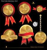 Gouden medailles - instellen — Stockvector