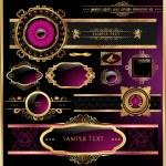 Vector set of black purple - framed labels — Stock Vector
