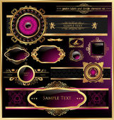 Vector set of black purple - framed labels — Stock Vector