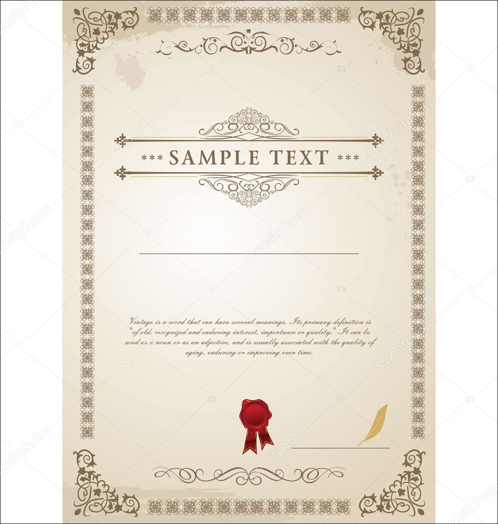 Certificate template — Stock Vector #9861010