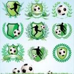 Soccer shield and laurel wreath set — Stock Vector #9899376