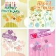 Stock Vector: Happy birthday background - floral set