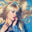 Blonde on Blue — Stock Photo #9220132