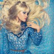 Blonde on Blue — Stock Photo