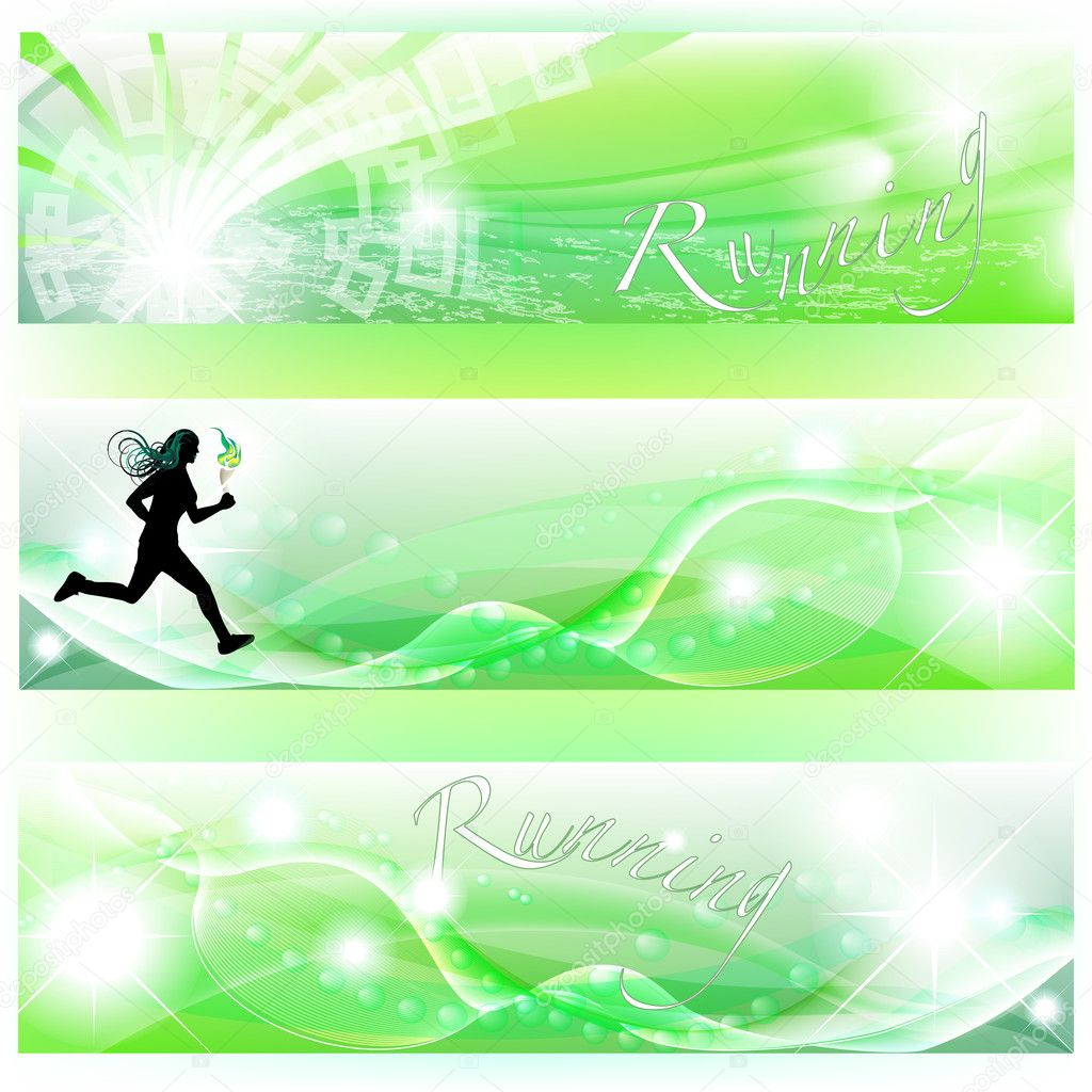 Set of 3 banners with runner, Olympic torch and abstract effects — Stock Vector #10262663