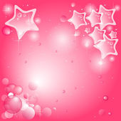 Pink background with stars and bubbles (available vector) — Stock Vector