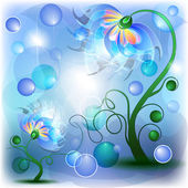 Fairy blue mum and baby flowers — Stock Vector