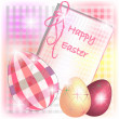 Stock Vector: Burberry Easter card with tridimensional eggs