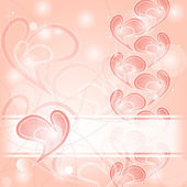Delicate romantic pink hearts card — Stock Vector