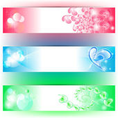 3 Banners with hearts and colours — Stock Vector