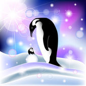 Parent and baby penguin in snowy background — Stock Vector