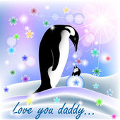 Dad and baby BOY penguin with polar background — Stock Vector