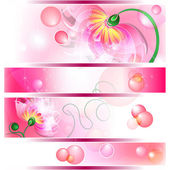 Banner with pink fairy flowers — Stock Vector