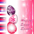 Happy Eggy Easter in pink and purple — Stock Vector