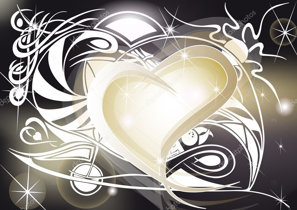 Golden heart with tribal designs, spiral and shining — Imagen vectorial #9885780