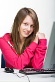 Girl with pc — Stock Photo
