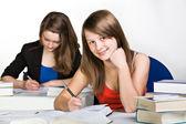 Learning schoolgirl — Stock Photo