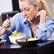 Woman with salad — Stock Photo