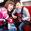 Learn play the guitar — Stock Photo