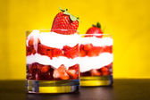 Quark with strawberries — Stock Photo