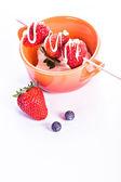 Quark with strawberries — Stock Photo