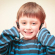 Boy with ear phones — Stock Photo