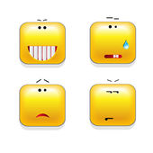 Square shaped yellow Smileys, vector icon set — Stock Vector