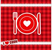I love Cook - Menu concept, vector illustration — Stock Vector