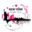 Art skyline of New York City — Stock Vector