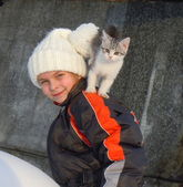 Friendly pet in the winter — Stock Photo