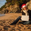 Christmas beach advertisiment — Stock Photo