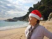 Christmas day at the beach — Stock Photo