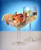 Seafood and white wine — Stock Photo