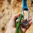Stock Photo: A climbers rope and quick-draws