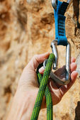 A climbers rope and quick-draws — Stock Photo