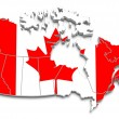 Canadflag map on white isolated — Stock Photo #8772268