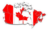 Canada flag map on white isolated — Stock Photo
