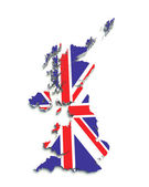 3D flag map of Great Britain on white isolated — Stock Photo